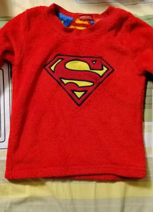 Кофта мягкая осень зима детские вещи superman