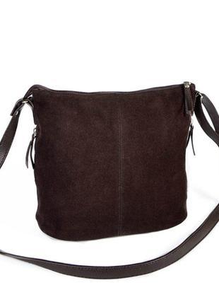 Коричневая замшевая молодежная сумочка на плечо