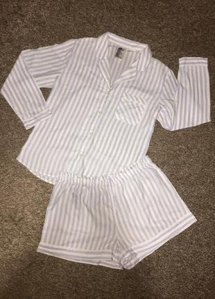 Хлопковая пижама в вертикальные полосы от h&m