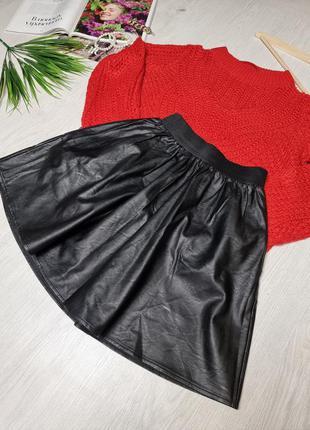 Кожаная мини юбка на резинке