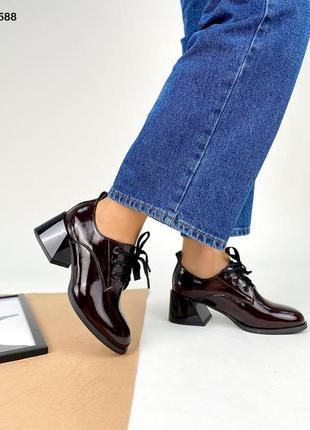 Код 5588 туфли лаковые kleo с красным расклешенным каблуком цвет вишня