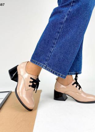 Код 5587 туфли лаковые kleo с красным расклешенным каблуком цвет пудра