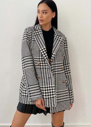 Твидовый пиджак в гусиную лапку черно-белый | 50717