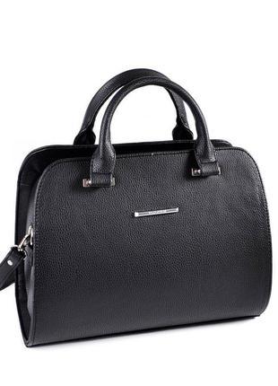 Черная женская сумка саквояж с ремешком на плечо