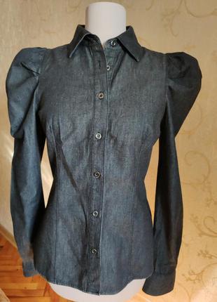 Рубашка джинсовая коттон чёрный цвет меланж пышный рукав