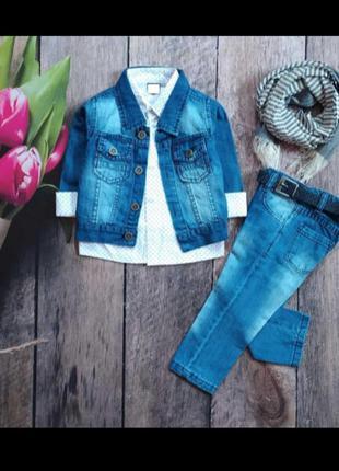 Джинсовый костюм 5 в 1 святковий набір праздничный наряд на 2 - 3 года джинсовий комплект пятірка джинсы джинсовая куртка рубашка шарф пояс