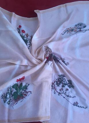 Платок шелковый,100%шелк, платок винтажный