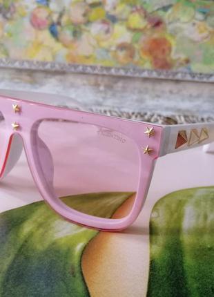 Модные брендовые белые очки маска с розовой линзой
