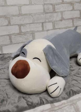 Игрушка-плед собака серая 50см (игрушка+подушка+плед) 107*157 см микрофибра