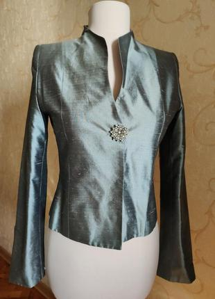 Пиджак жакет 100% шёлк дикий шёлк серый