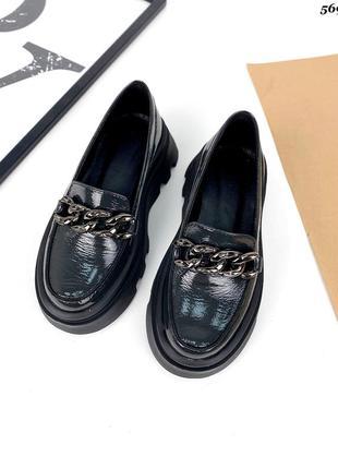 Шкіряні лаковані лофери на платформі туфли кожаные лаковые лоферы на платформе туфлі