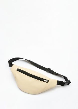 Поясная сумка,(бананка) женская бежевая сумка, мега удобная экокожа