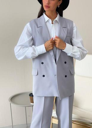 Трендовый брючный костюм женский двойка брюки палаццо жилетка