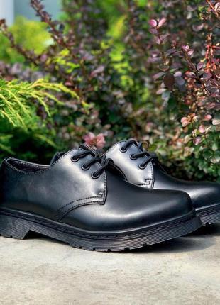 Женские черные кожаные туфли dr. martens 1461 mono black демисезонные