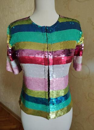 Пиджак кофта джемпер пайетки сетка