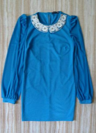 Нарядное мини платье с красивым воротничком №3161 фото