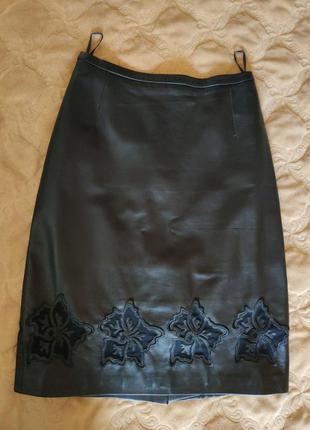 Шикарная кожаная идеальная юбка натуральная кожа лайка