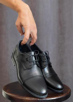 Мужские туфли кожаные весна/осень черные vivaro 556 classic