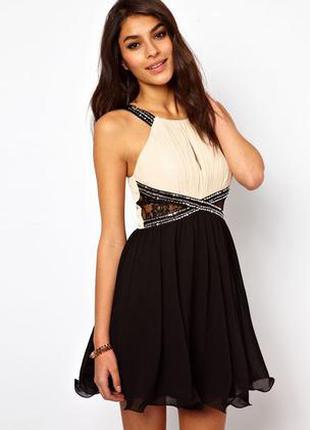 Вечернее платье с пышной юбкой | черное | бежевое платье