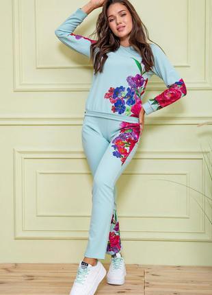 Новинка❤ костюм спортивный в цветочный принт, мята