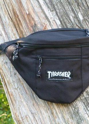 Поясная сумка thrasher black барсетка черная бананка мужская / женская