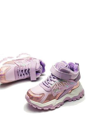 Детские демисезонные ботинки для девочки фиолетовые бабочка