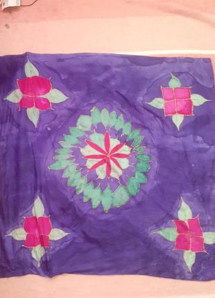 Платок шелковый,платок винтажный,100% шелк,платок большой