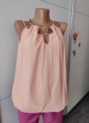 Блуза безрукавка в камнях нежно розового цвета пудра dorothy perkins 40