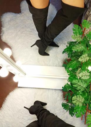 Высокие черные замшевые сапоги ботфотры italy