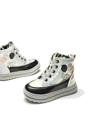 Детские демисезонные ботинки для девочки серебристые