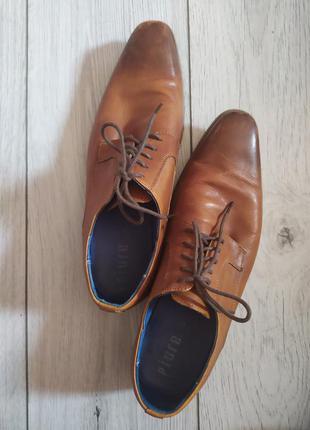 Туфли кожаные на шнурках, туфли кожа