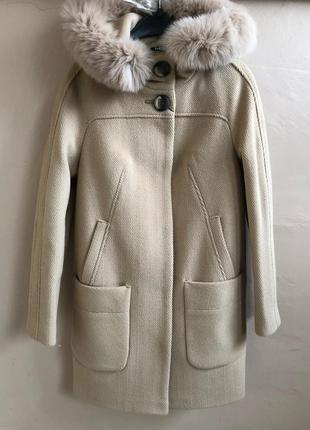 Зимнее пальто-парка шерстяное 42-50р с натуральным мехом на утеплителе