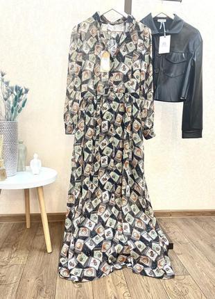 Платок рубашка макси длинное плаття сукня осень италия