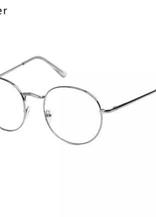 Серебряные круглые имиджевые очки, унисекс