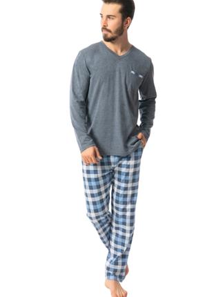 Мужской комплект кофта брюки в клетку турция 1xl,2xl,3xl,4xl,большой размер, хлопок