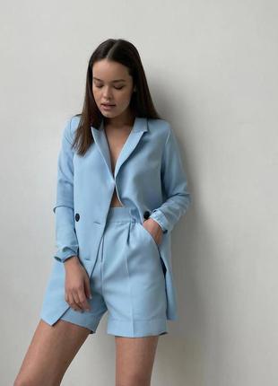Костюм голубой, пиджак oversize + шорты бермуды — 430 грн