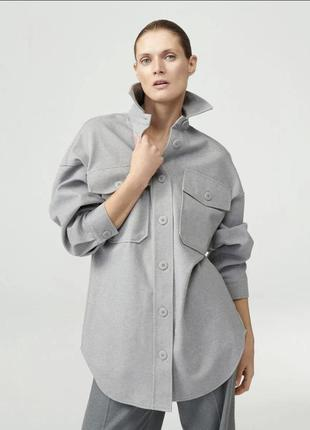 Куртка-рубашка из трикотажа с саржевым плетением