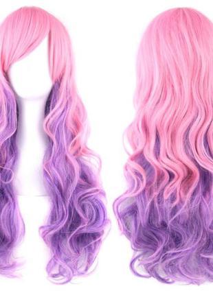 Парик пышный, волнистые волосы 70 см, розово-фиолетовый