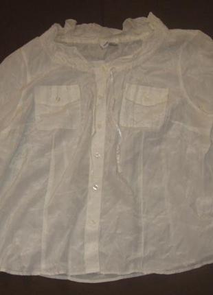 Блузка белая, женская, на пуговицах, 50 р-р
