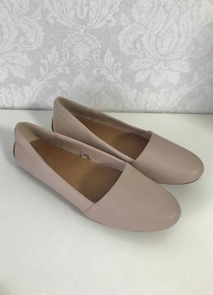 🍂 кожаные женские балетки туфли на низком ходу