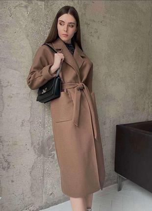 Кашемировое пальто длинное с поясом в расцветках, пальто оверсайз