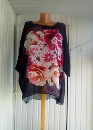 Красивая шифоновая блуза большого размера батал оверсайз