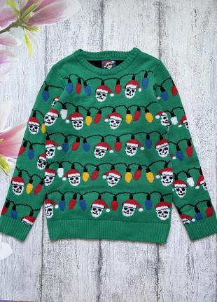 Крутой новогодний свитер кофта f&f 11-12лет
