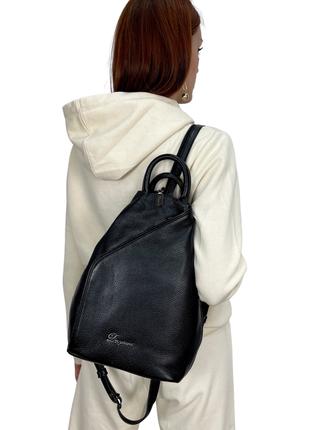Рюкзак женский кожаный, dovgiani, черный, производство италия