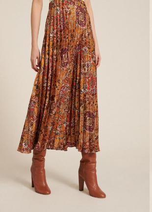 Длинная шерстянная принтованная плиссированная юбка макси бохо этно стиль gaddi's винтаж