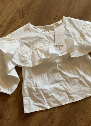 Белая стильная блуза mango на девочку 116 см