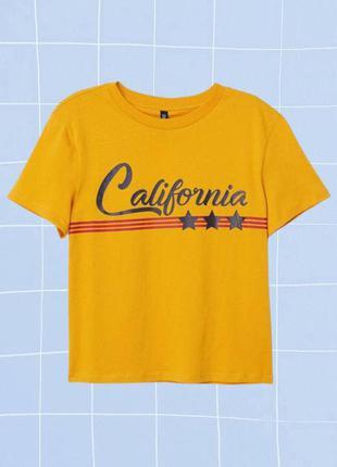 Оранжевая/горчичная/желтая футболка california