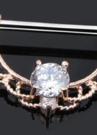 Пирсинг, штанги для сосков с кристаллом, пара, цвет розовое золото с белым кристаллом