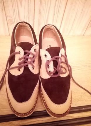 Кожані туфлі із вставками замша