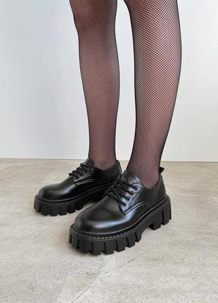 Туфли оксфорды женские на тракторной подошве экокожа черные